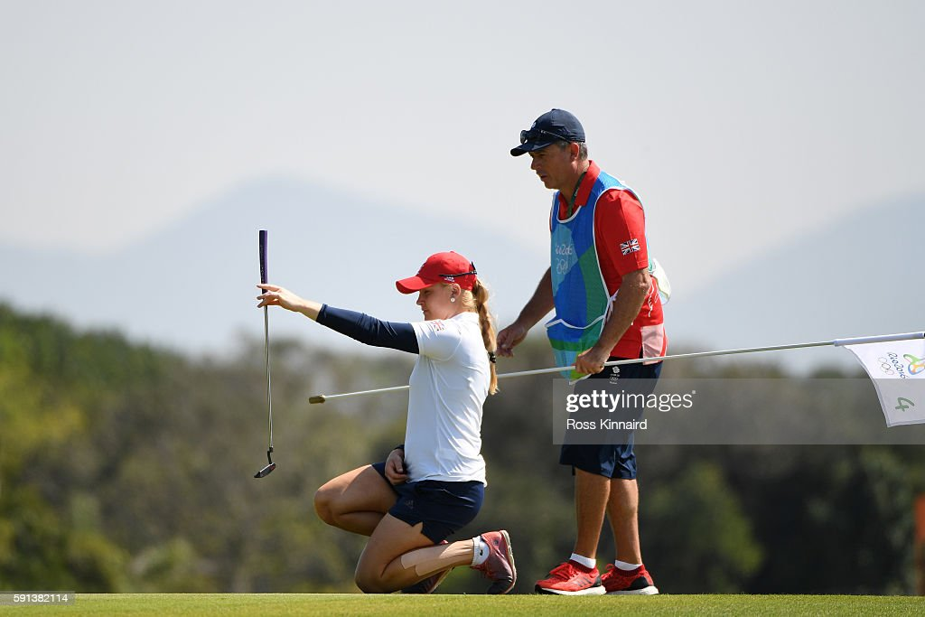 Charley Hull of Great Britain lines up a putt on the fourth green during the First Round of Women's Golf at Olympic Golf Course on Day 12 of the Rio...