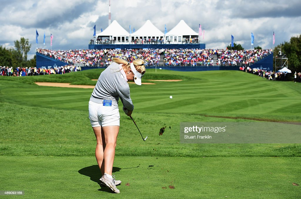 Charley Hull of team Europe plays a shot during the morning foursomes matches at The Solheim Cup at St LeonRot Golf Club on September 19 2015 in St...