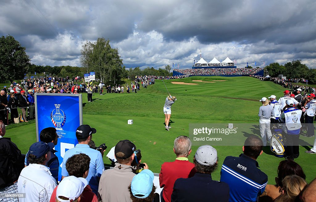 Charley Hull of the European Team plays her tee shot on the 15th hole in her match with Suzann Pettersen against Paula Creamer and Morgan Pressel of...