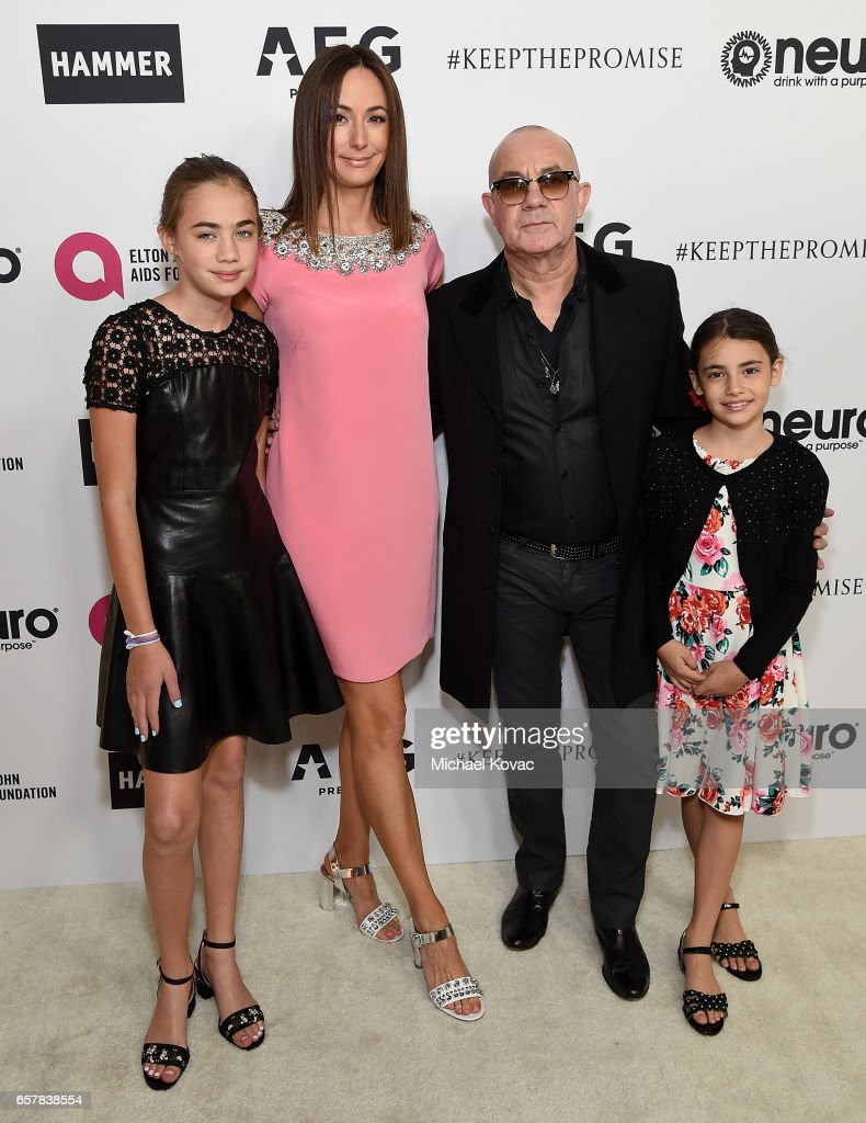 Charley Indiana Taupin, Heather Taupin, lyricist Bernie Taupin, and Georgey Devon Taupin celebrate Elton John's 70th Birthday and 50-Year Songwriting Partnership with Bernie Taupin benefiting the Elton John AIDS Foundation and the UCLA Hammer Museum at RED Studios Hollywood on March 25, 2017 in Los Angeles, California.