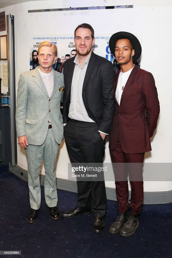 Charley Merkell, director Gabe Turner and Harley 'Sylvester' Alexander-Sule attend the UK Premiere of 'The Guvnors' at Odeon Covent Garden on August 27, 2014 in London, England.