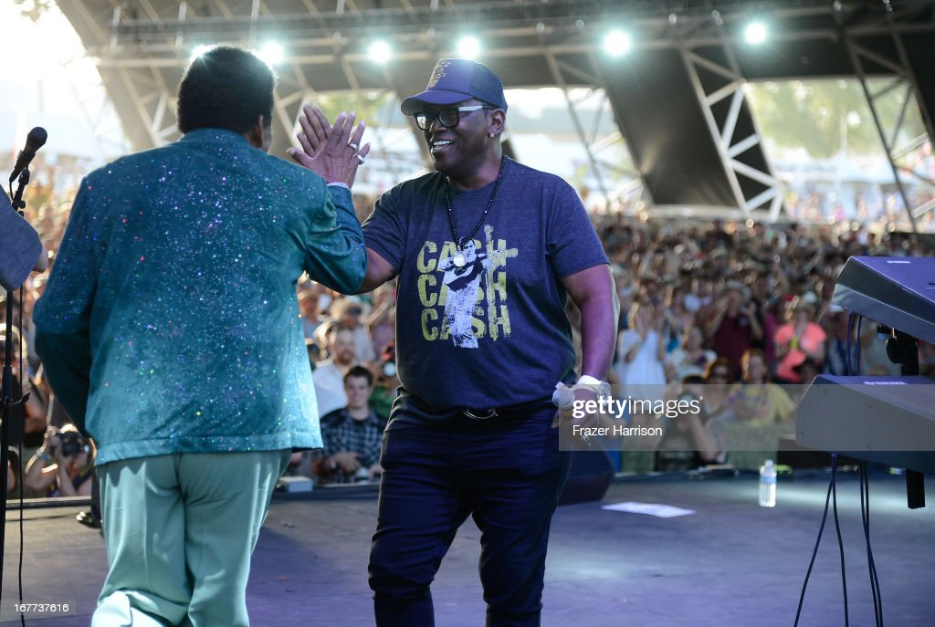 <a gi-track='captionPersonalityLinkClicked' href=/galleries/search?phrase=Charley+Pride&family=editorial&specificpeople=1144273 ng-click='$event.stopPropagation()'>Charley Pride</a> and Randy Jackson onstage during 2013 Stagecoach: California's Country Music Festival held at The Empire Polo Club on April 28, 2013 in Indio, California.