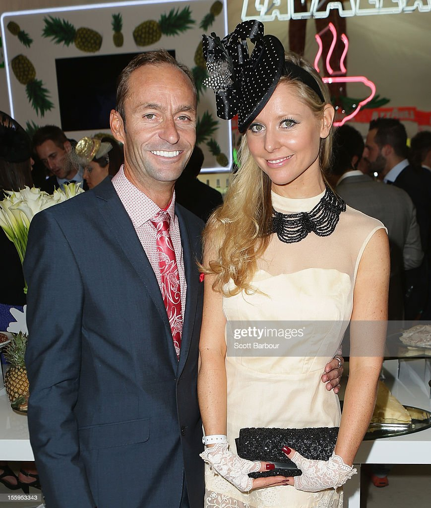 Charli Robinson and Justin Fitzpatrick attend the Lavazza marquee on Stakes Day at Flemington Racecourse on November 10, 2012 in Melbourne, Australia.