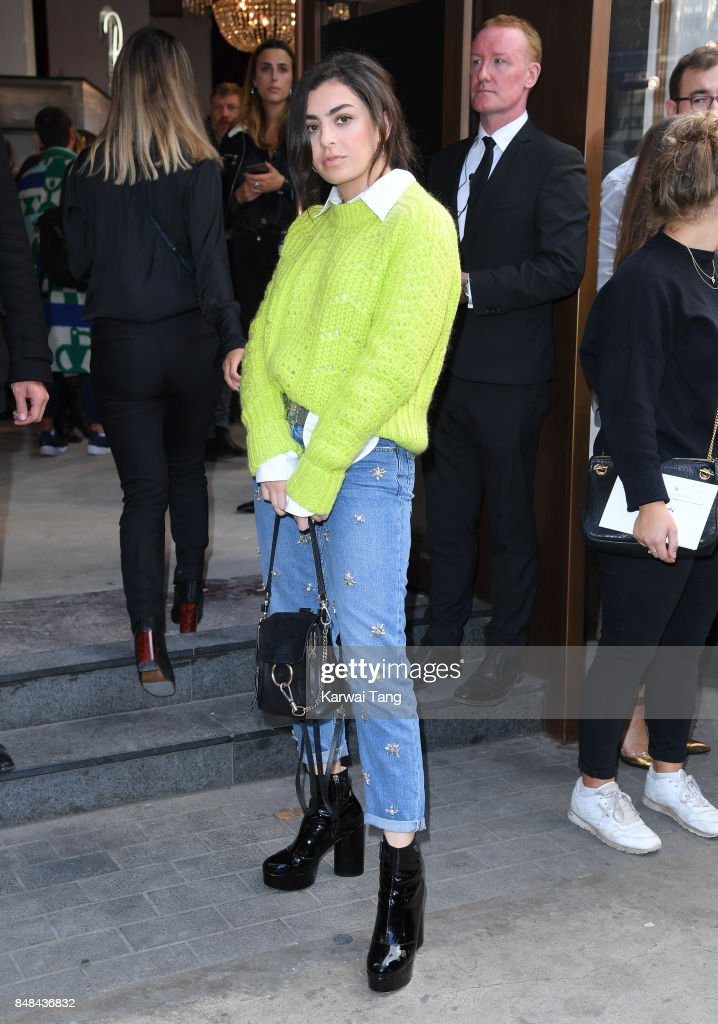 Charli XCX arrives for the TOPSHOP Fashion show during London Fashion Week September 2017 on September 17, 2017 in London, England.