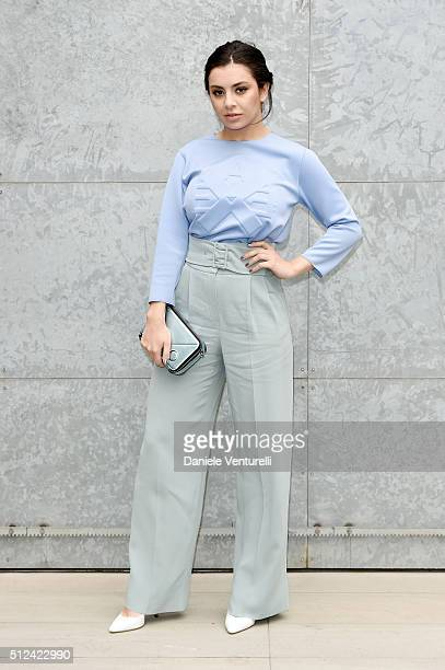 Charli XCX attends the Emporio Armani show during Milan Fashion Week Fall/Winter 2016/17 on February 26 2016 in Milan Italy