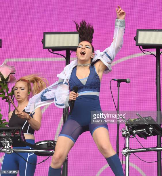 Charli XCX performs on day 2 of the Glastonbury Festival 2017 at Worthy Farm Pilton on June 23 2017 in Glastonbury England