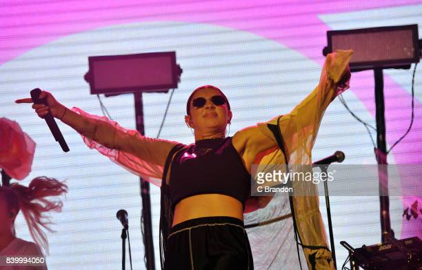 Charli XCX performs on stage during Day 3 of the Reading Festival at Richfield Avenue on August 27 2017 in Reading England