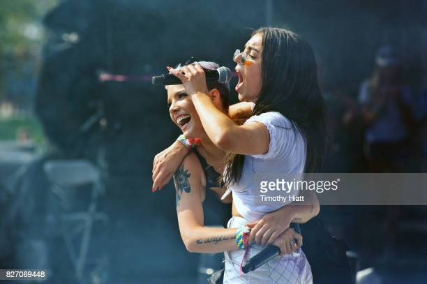 Charli XCX performs with special guest Halsey on Day Four of Lollapalooza at Grant Park on August 6 2017 in Chicago Illinois