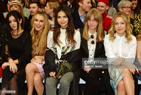 Charli XCX Tallia Storm Doina Ciobanu India Rose James and Poppy Jamie attend the SIBLING show during London Fashion Week Autumn/Winter 2016/17 at...