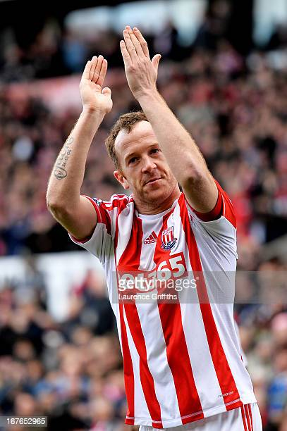Charlie Adam of Stoke celebrates after scoring the opening goal during the Barclays Premier League match between Stoke City and Norwich City at the...