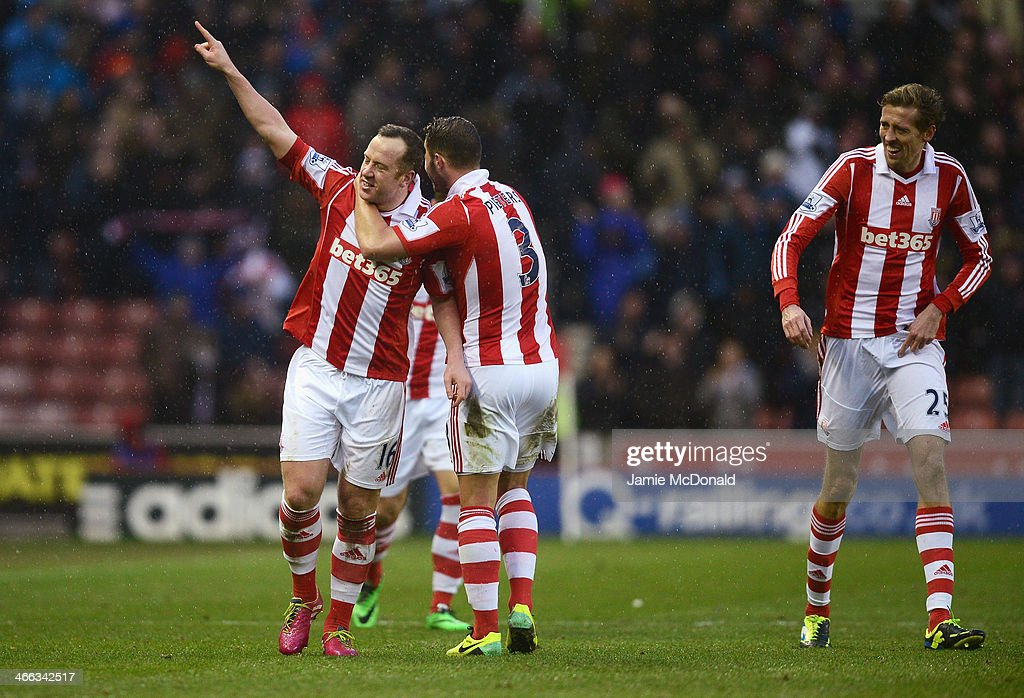<a gi-track='captionPersonalityLinkClicked' href=/galleries/search?phrase=Charlie+Adam&family=editorial&specificpeople=3987843 ng-click='$event.stopPropagation()'>Charlie Adam</a> of Stoke City celebrates scoring his second goal during the Barclays Premier League match between Stoke City and Manchester United at Britannia Stadium on February 1, 2014 in Stoke on Trent, England.