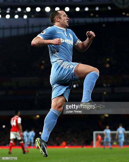 Charlie Adam of Stoke City celebrates scoring his sides first goal during the Premier League match between Arsenal and Stoke City at the Emirates...