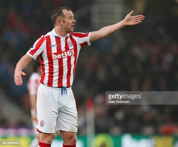 Charlie Adam of Stoke City during the Premier League match between Stoke City and Crystal Palace at Bet365 Stadium on February 11 2017 in Stoke on...