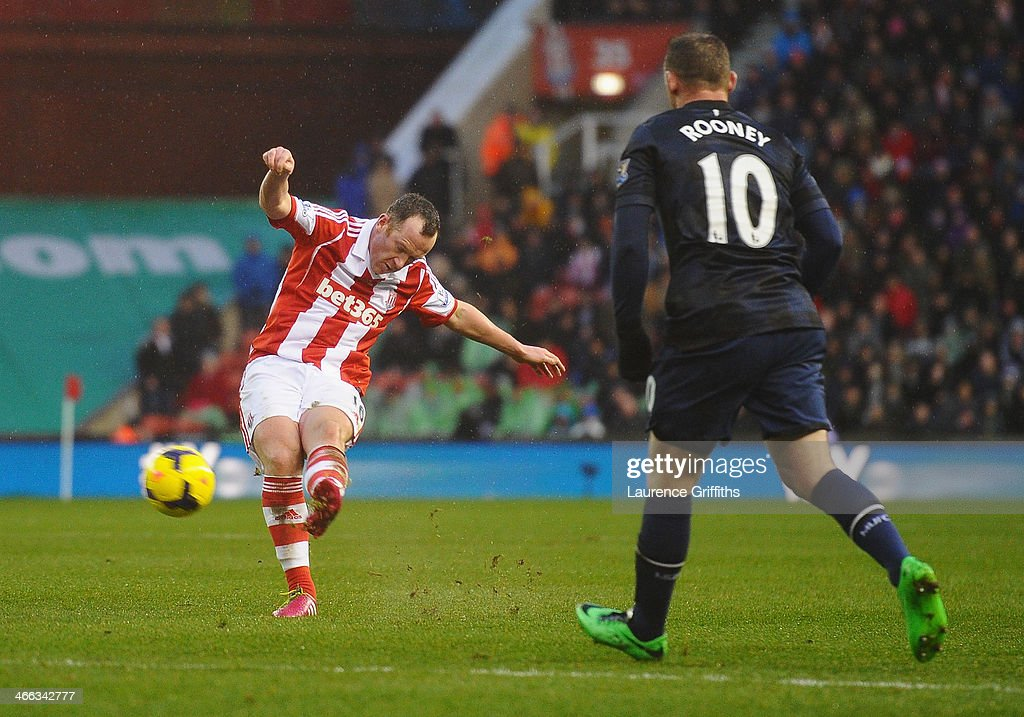 Charlie Adam of Stoke City scores his second goal during the Barclays Premier League match between Stoke City and Manchester United at Britannia Stadium on February 1, 2014 in Stoke on Trent, England.