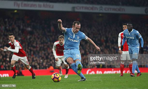 Charlie Adam of Stoke City scores his sides first goal from the penalty spot during the Premier League match between Arsenal and Stoke City at the...