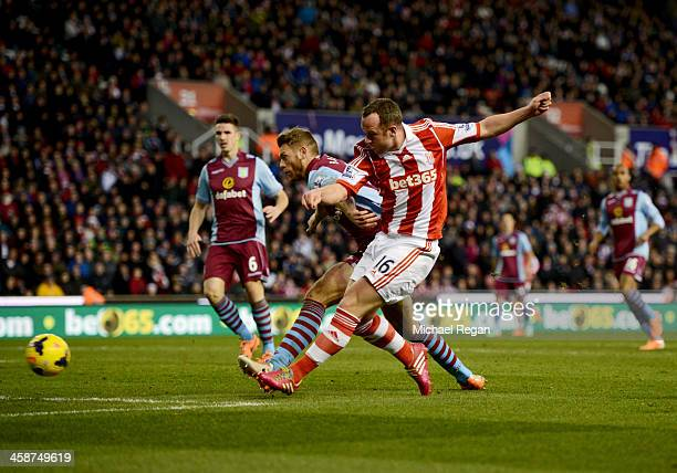 Charlie Adam of Stoke City scores their first goal during the Barclays Premier League match between Stoke City and Aston Villa at Britannia Stadium...