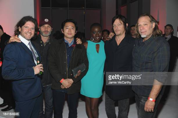 Charlie Adlard Andrew Lincoln Steven Yeun Danai Gurira Norman Reedus and Greg Nicotero attend Hyundai presents The Walking Dead A Decade of Dead at...