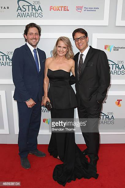 Charlie Albone Shaynna Blaze and Andrew Winter arrive at the 2015 ASTRA Awards at the Star on March 12 2015 in Sydney Australia
