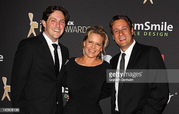 Charlie Albone Shaynna BlazeVaughan and Andrew Winter arrive at the 2012 Logie Awards at the Crown Palladium on April 15 2012 in Melbourne Australia