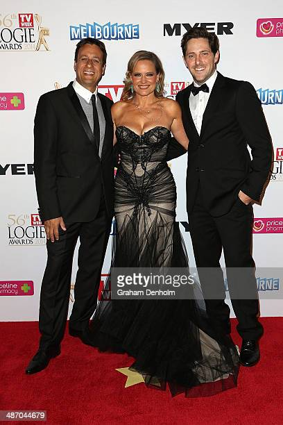 Charlie Albone Shaynna BlazeVaughan and Andrew Winter arrive at the 2014 Logie Awards at Crown Palladium on April 27 2014 in Melbourne Australia