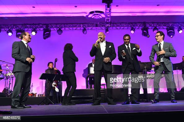Charlie Aponte Carlos Vives Oscar D'Leon Jose Alberto and Marc Anthony perform onstage at BMI's 22nd Annual Latin Music Awards at Fountainbleau Miami...
