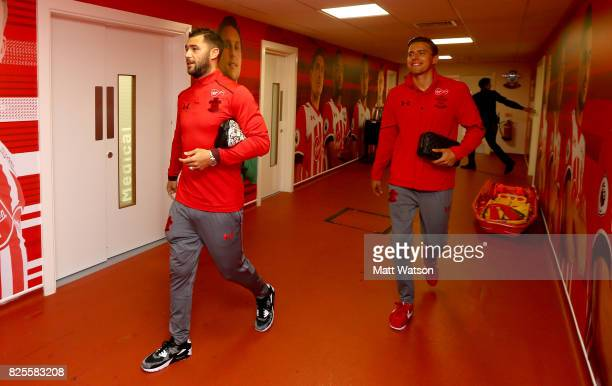 Charlie Austin abd Jan Bednarek of Southampton arrive during the preseason friendly between Southampton FC and Augsburg at St Mary's Stadium on...