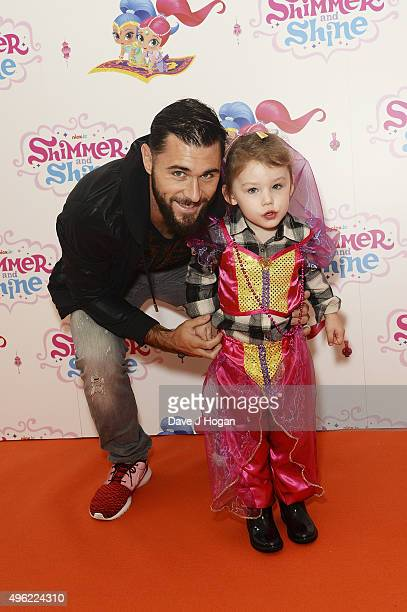 Charlie Austin and daughter Avabella attend the UK premiere of the new Nick Jr series Shimmer and Shine launching on Monday 9th November at 430pm on...