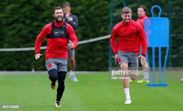 Charlie Austin and Jack Stephens during a Southampton FC training session at the Staplewood Campus on September 21 2017 in Southampton England