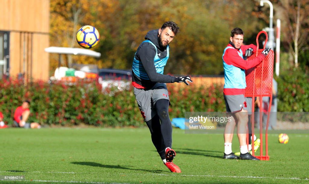 Charlie Austin during a Southmpton FC training session at the Staplewood Campus on November 16, 2017 in Southampton, England.