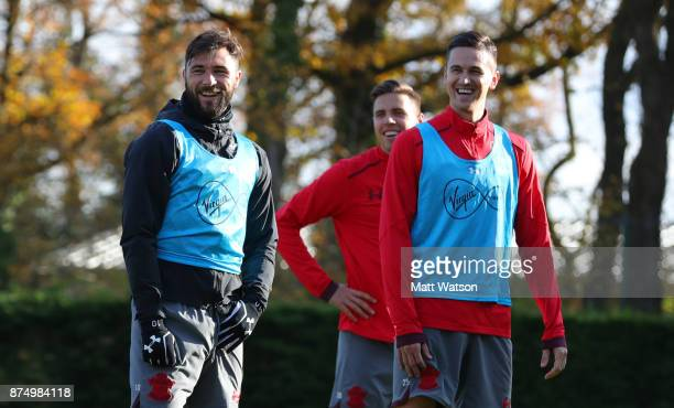 Charlie Austin Jan Bednarek and Florin Gardos during a Southmpton FC training session at the Staplewood Campus on November 16 2017 in Southampton...