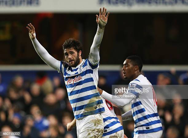 Charlie Austin of QPR celebrates his third goal during the Barclays Premier League match between Queens Park Rangers and West Bromwich Albion at...