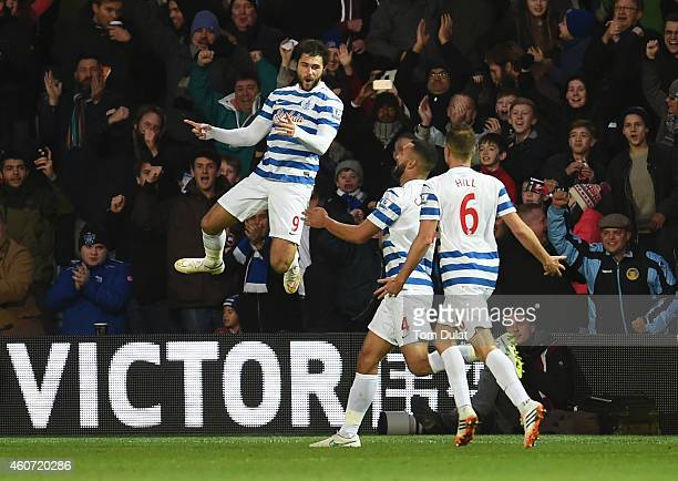 Charlie Austin of QPR celebrates scoring his second goal during the Barclays Premier League match between Queens Park Rangers and West Bromwich...
