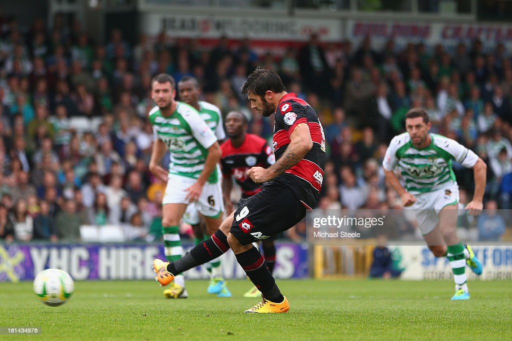 Charlie Austin of Queens Park scores from the penalty spot during the Sky Bet Championship match between Yeovil Town and Queens Park Rangers at Huish...