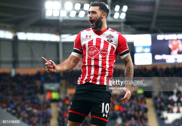 Charlie Austin of Southampton celebrates scoring his sides first goal during the Premier League match between Hull City and Southampton at KC Stadium...