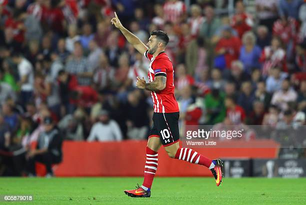 Charlie Austin of Southampton celebrates scoring his teams opener during the UEFA Europa League Group K match between Southampton FC and AC Sparta...
