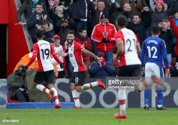Charlie Austin of Southampton celebrates scoring the 3rd Southampton goal with Sofiane Boufal of Southampton during the Premier League match between...