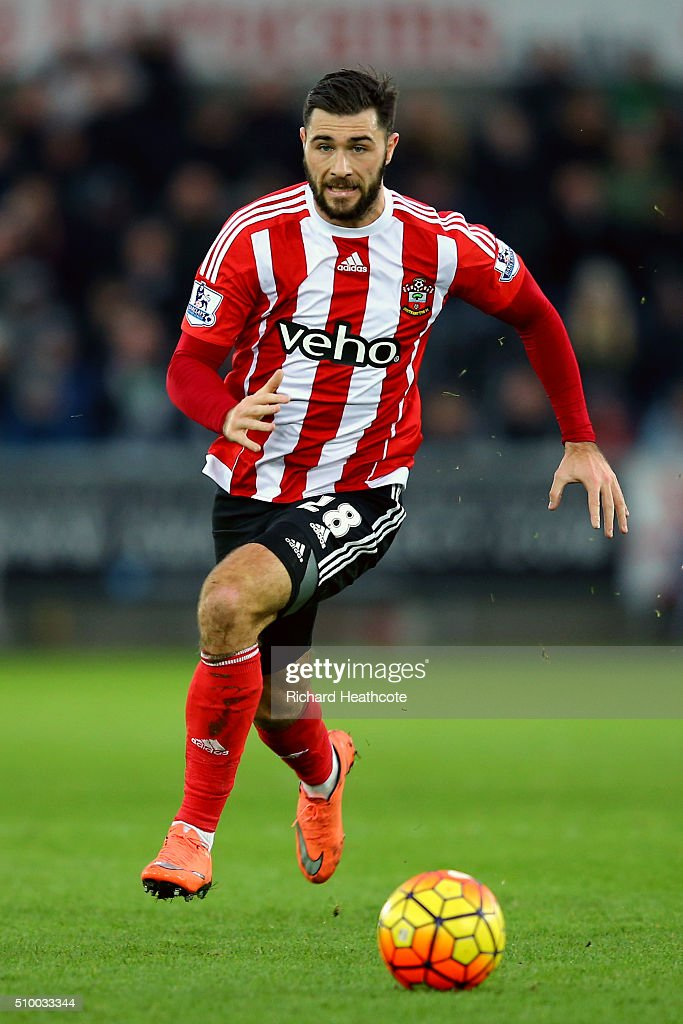 Charlie Austin of Southampton in action during the Barclays Premier League match between Swansea City and Southampton at the Liberty Stadium on February 13, 2016 in Swansea, Wales.