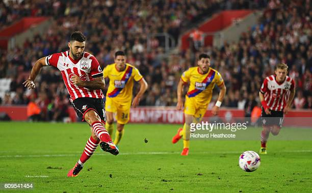Charlie Austin of Southampton scores his sides first goal from the penalty spot during the EFL Cup Third Round match between Southampton and Crystal...
