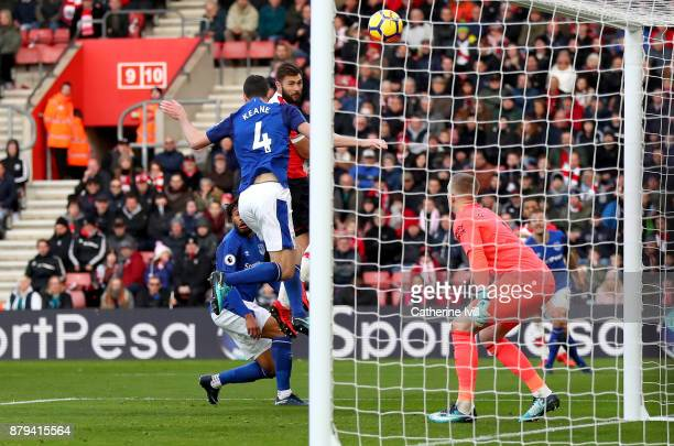 Charlie Austin of Southampton scores the 2nd Southampton goal during the Premier League match between Southampton and Everton at St Mary's Stadium on...