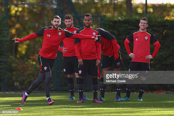 Charlie Austin points the way during the Southampton training session at Staplewood Training Ground on November 2 2016 in Southampton England