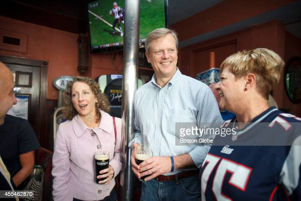 Charlie Baker the Republican candidate for governor visited the L St Tavern during the New England Patriots football game on Sunday September 14 At...
