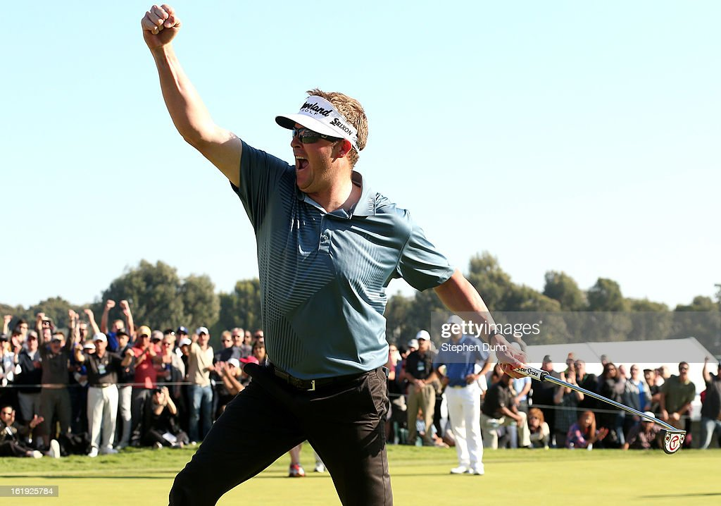 Charlie Beljan celebrates after making a birdie putt on the 18th hole to tie for the lead during the final round of the Northern Trust Open at Riviera Country Club on February 17, 2013 in Pacific Palisades, California. Beljan eventually lost in a playoff to John Merrick.