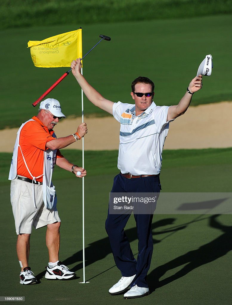 <a gi-track='captionPersonalityLinkClicked' href=/galleries/search?phrase=Charlie+Beljan&family=editorial&specificpeople=5926093 ng-click='$event.stopPropagation()'>Charlie Beljan</a> celebrates his birdie putt on the 16th hole during the second round of the Hyundai Tournament of Champions at Plantation Course at Kapalua on January 7, 2013 in Kapalua, Maui, Hawaii.