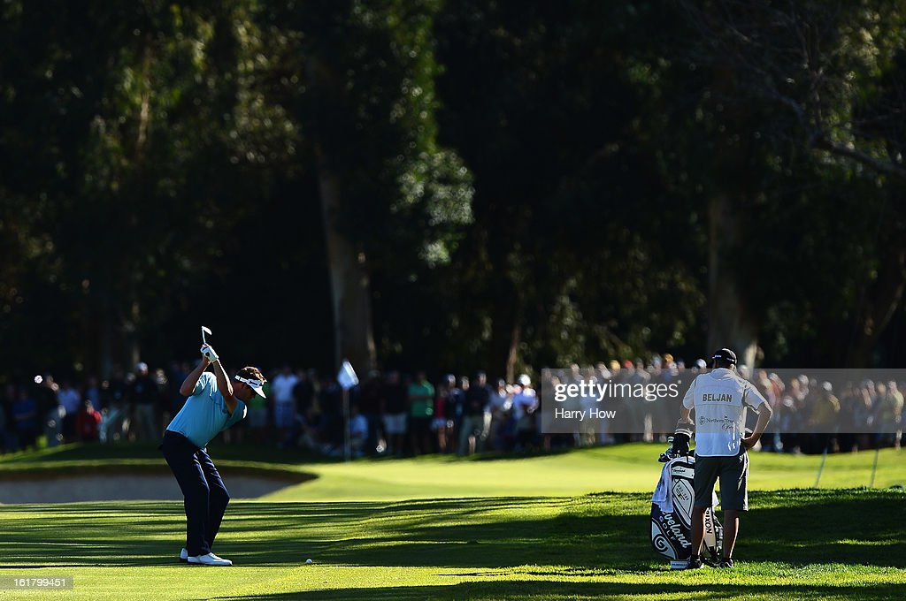 Charlie Beljan hits a second shot on the first hole during the third round of the Northern Trust Open at the Riviera Country Club on February 16, 2013 in Pacific Palisades, California.