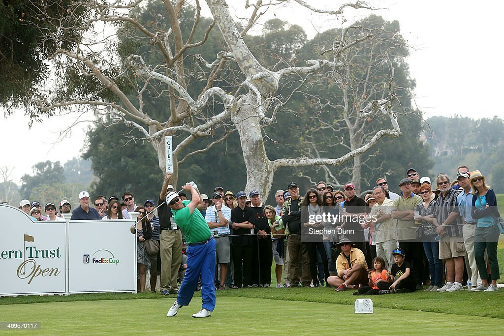 Charlie Beljan hits a tee shot on the 18th hole in the third round of the Northern Trust Open at the Riviera Country Club on February 15 2014 in...