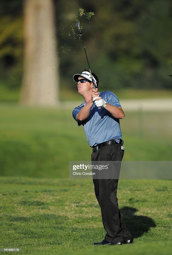 Charlie Beljan hits from the rough on the second playoff hole (No. 10) during the final round of the Northern Trust Open at Riviera Country Club on February 17, 2013 in Pacific Palisades, California.