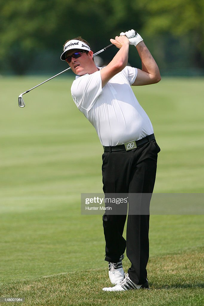 Charlie Beljan hits his second shot on the 12th hole during the third round of the Greenbrier Classic at the Old White TPC on July 7, 2012 in White Sulphur Springs, West Virginia.