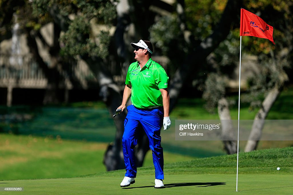 Charlie Beljan reacts on the eighth green during the second round of the Frys.com Open on October 16, 2015 at the North Course of the Silverado Resort and Spa in Napa, California.