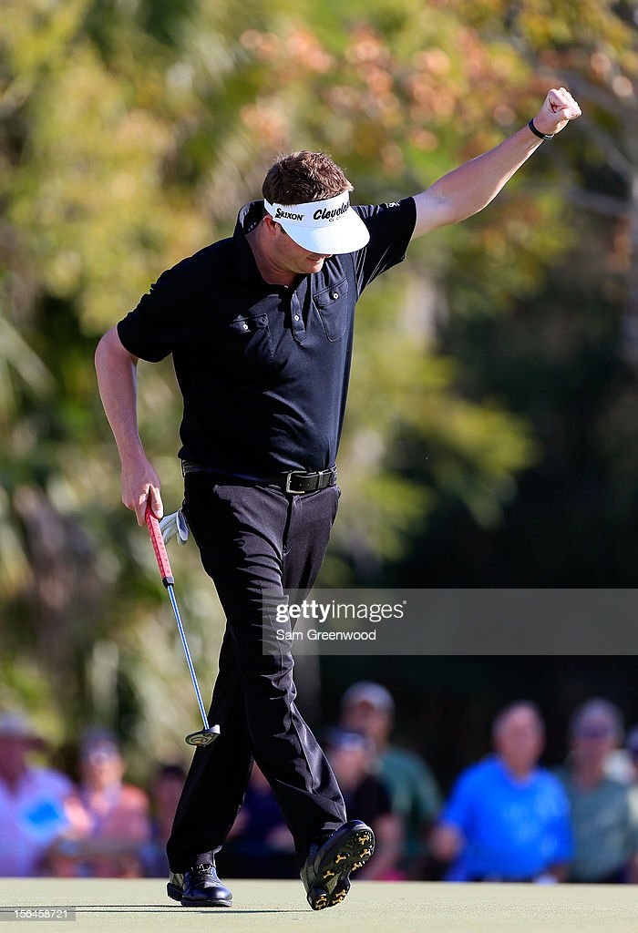 Charlie Beljan reacts to a birdie putt on the 14th hole during the final round of the Children's Miracle Network Hospitals Classic at the Disney Magnolia course on November 11, 2012 in Lake Buena Vista, Florida.