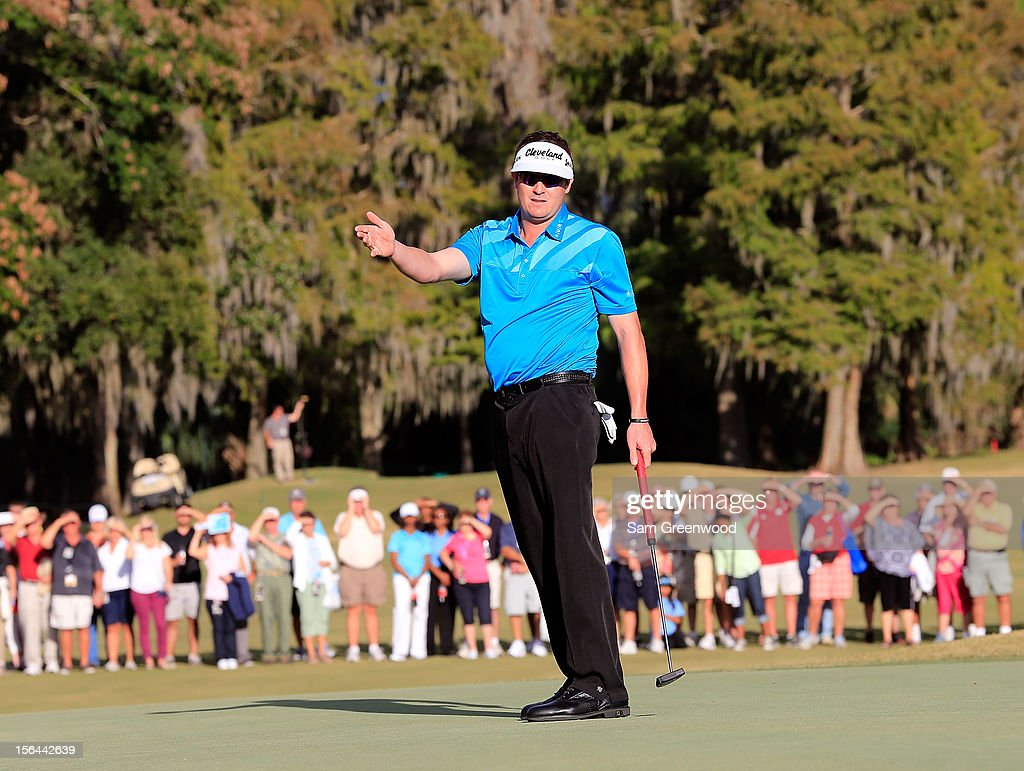 Charlie Beljan reacts to a missed birdie attempt on the 18th hole during the third round of the Children's Miracle Network Hospitals Classic at the Disney Magnolia course on November 10, 2012 in Lake Buena Vista, Florida.